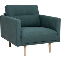 Product photograph showing Nexa Fabric Armchair In Dark Green With Oak Legs