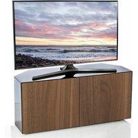 Product photograph showing Nexus Corner Tv Stand In Black Gloss Walnut And Wireless Chargin