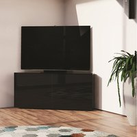Product photograph showing Nexus Corner Tv Stand In Black Gloss With Wireless Charging