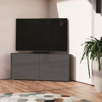 Product photograph showing Nexus Corner Tv Stand In Grey Gloss With Wireless Charging