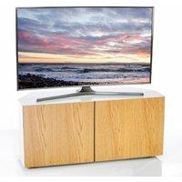 Product photograph showing Nexus Corner Tv Stand In White Gloss Oak Wireless Charging