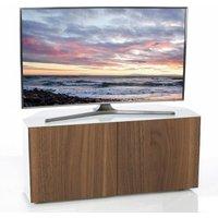 Product photograph showing Nexus Corner Tv Stand In White Gloss Walnut Wireless Charging