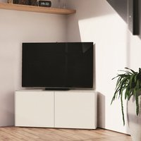 Product photograph showing Nexus Corner Tv Stand In White Gloss With Wireless Charging