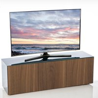 Product photograph showing Nexus Large Tv Stand In Grey Gloss Walnut And Wireless Charging