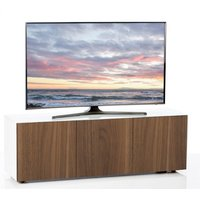 Product photograph showing Nexus Large Tv Stand In White Gloss Walnut And Wireless Charging