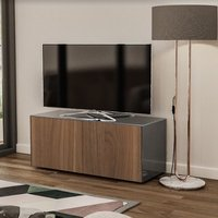 Product photograph showing Nexus Small Tv Stand In Grey Gloss Walnut And Wireless Charging