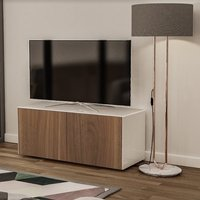 Product photograph showing Nexus Small Tv Stand In White Gloss Walnut And Wireless Charging