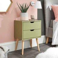Niceville Wooden 2 Drawers Bedside Cabinet In Boa Green