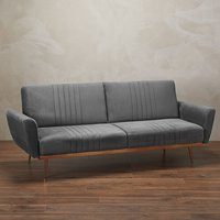 Product photograph showing Nico Velvet Upholstered Sofa Bed In Grey With Copper Legs