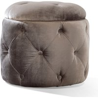 Nicolette Velvet Foot Stool In Pewter