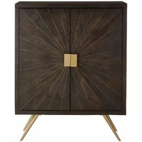 Product photograph showing Nikawiy Wooden Storage Cabinet In Antique Brass With 2 Doors