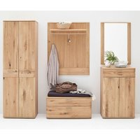Product photograph showing Nilo Wooden Hallway Furniture Set In Planked Oak