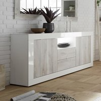 Product photograph showing Nitro Led 2 Door 2 Drawer White Gloss Sideboard In White Pine