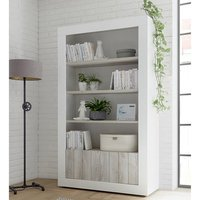 Product photograph showing Nitro 2 Doors 3 Shelves Bookcase In White Gloss And White Pine