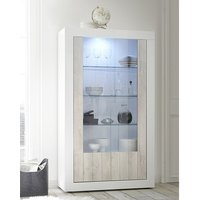 Product photograph showing Nitro 2 Doors Led Display Cabinet In White Gloss And White Pine