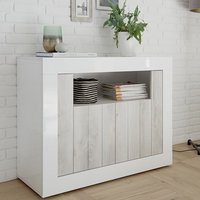 Product photograph showing Nitro 2 Doors Wooden Sideboard In White Gloss And White Pine