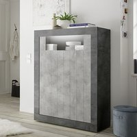 Product photograph showing Nitro Led 2 Doors Wooden Storage Unit In Oxide And Cement Effect