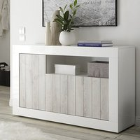 Product photograph showing Nitro 3 Doors Wooden Sideboard In White Gloss And White Pine