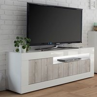 Product photograph showing Nitro Led 3 Doors Wooden Tv Stand In White Gloss And White Pine