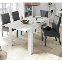 Product photograph showing Nitro Extending White Pine Dining Table With 6 Miko Chairs