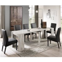 Nitro Large Extending White Pine Dining Table With 6 Miko Chairs