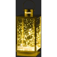 Product photograph showing Noah Large Metal Lantern In Brass With Led Micro Lights
