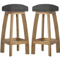 Product photograph showing Noah Wooden Bar Stool In Oak Ish With Black Fabric Seat In Pair
