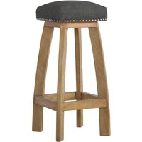 Product photograph showing Noah Wooden Bar Stool In Oak Ish With Black Fabric Seat