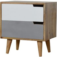 Nobly Wooden Bedside Cabinet In Grey And White With 2 Drawers