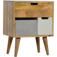 Product photograph showing Nobly Wooden Bedside Cabinet In Grey And White Removable Drawer