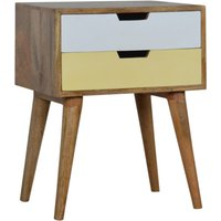 Product photograph showing Nobly Wooden Bedside Cabinet In Mustard And White