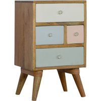 Nobly Bedside Cabinet In Pink And White With Multi Drawers