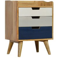 Product photograph showing Nobly Wooden Gradient Bedside Cabinet In Navy Blue And White