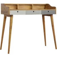 Product photograph showing Nobly Wooden Study Desk In Grey And Oak Ish