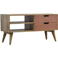 Product photograph showing Nobly Wooden Tv Stand In Oak Ish And Copper