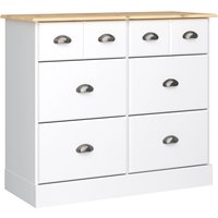 Nola Tall Chest Of Drawers In White And Pine With 6 Drawers