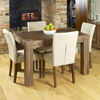 Product photograph showing Norden Dining Table In Walnut With 4 Biscuit Novian Chairs