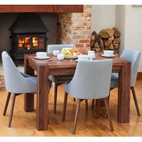 Product photograph showing Norden Dining Table In Walnut With 4 Grey Harrow Chairs