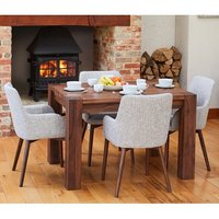 Product photograph showing Norden Dining Table In Walnut With 4 Light Grey Harrow Chairs