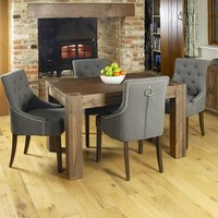 Product photograph showing Norden Dining Table In Walnut With 4 Slate Harry Chairs
