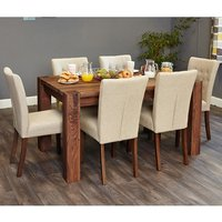 Norden Dining Table In Walnut With 6 Biscuit Novian Chairs