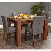 Norden Large Dining Table In Walnut With 6 Slate Novian Chairs