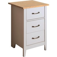 Product photograph showing Norfolk Wooden Bedside Cabinet In Pine And Grey