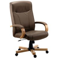 Norman Light Wood Executive Chair In Brown Bonded Leather
