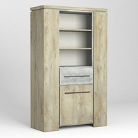 Product photograph showing Norton Bookcase In Oak And Concrete Effect With 1 Door 1 Drawer