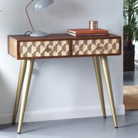 Product photograph showing Nosid Wooden Console Table In Dark Walnut With 2 Drawers