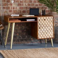 Product photograph showing Nosid Wooden Laptop Desk In Dark Walnut With 1 Door 1 Drawer