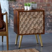 Product photograph showing Nosid Wooden Side Table In Dark Walnut With 2 Drawers