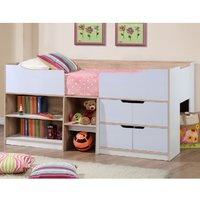 Product photograph showing Nottingham Children Cabin Bed In White And Oak
