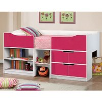 Product photograph showing Nottingham Children Cabin Bed In White And Pink
